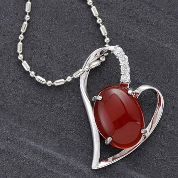 Oval Red Agate Silver Pendant