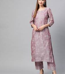 Women Lavender & Off White Floral Screen Print Kurta With Trousers