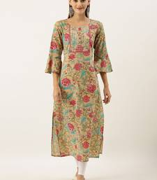Women Beige & Pink Floral Printed Straight Kurta With Gotta Patti & Lace Detailing