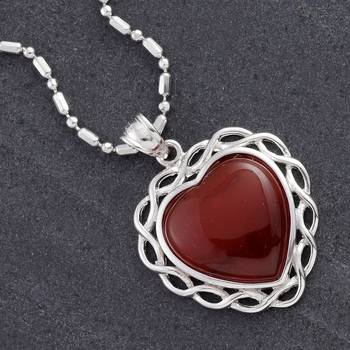 Silver Red Agate Heart Pendant