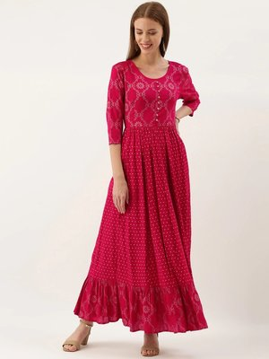 Women Pink & Gold Toned Foil Printed Anarkali Kurta