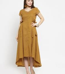 Women Brown Printed Fit and Flare Dress