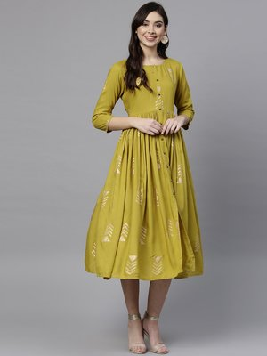 Women Lime Green & Golden Printed Fit & Flared Dress