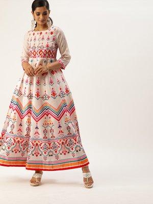 varanga women off white pink ethnic printed styled back anarkali kurta