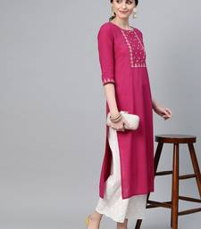 Wine Straight Kurta With Floral Zari Embroidery On Yoke And Sleeves