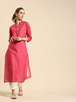 Pink Silk Kurtar With Grey Overall Elasticated Silk Pants.