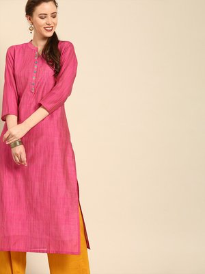 Fushcia Silk Kurta With Floral Embroidery On Placket and 3/4th Sleeves.