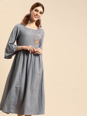 Grey With Multi Color Floral Embroidered Dress