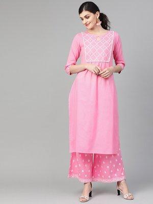 Light Pink Khari Printed Straight Kurta  With Overall Printed Straight Palazzo