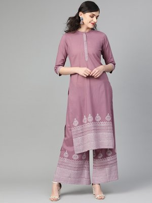 Mauve And Off White Block Printed Straight Kurta With Block Printed Straight Palazzo