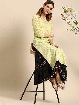 Printed Lime Green Mandarian Collar Straight Kurta,