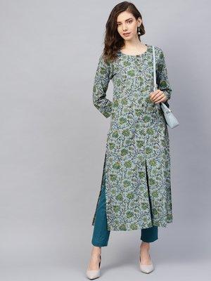 Grey & Green Printed Straight Kurta