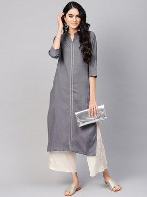 varanga women charcoal grey solid straight kurta