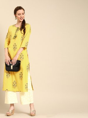 Yellow Floral Printed Straight Hand Embellished Kurta With Overall Printed Fully Elasticated Palazzo.