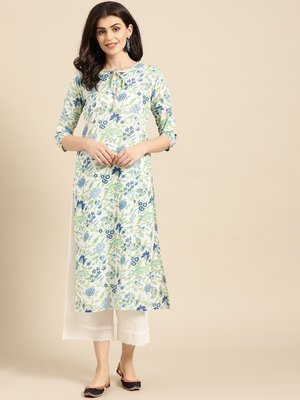 White,Blue And Green Floral Printed Straight Kurta