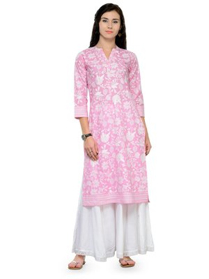 Pink And White Printed Kurta