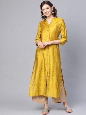Mustard Yellow Dobby Weave Woven Design Straight Kurta