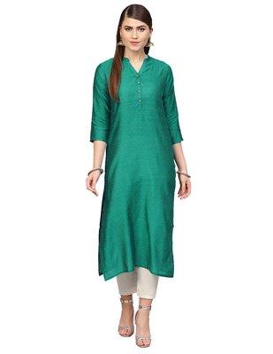 Women Green Woven Design Straight Kurta