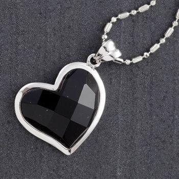 Black Onyx Silver Heart Pendant