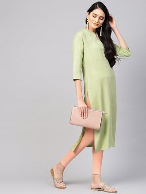 varanga women sea green solid straight kurta