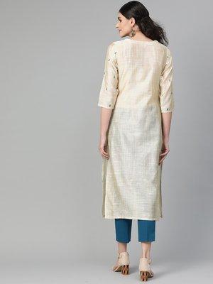 varanga off white straight kurta with thread embroidery on neckline and sleeves