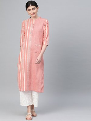 Peach Coloured & Off White Handloom Striped Straight Kurta