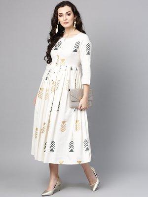 Women Off White A Line Dress