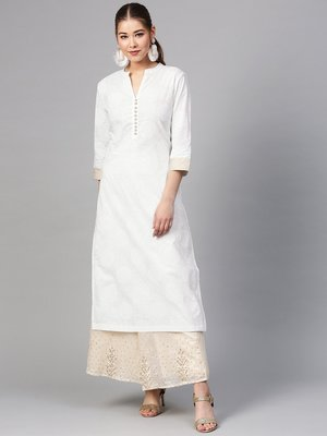 Women White Printed Straight Kurta