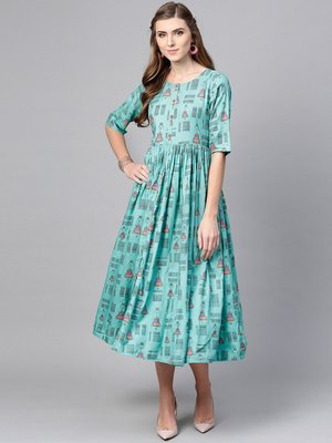 Women Turquoise Blue Printed A line Dress