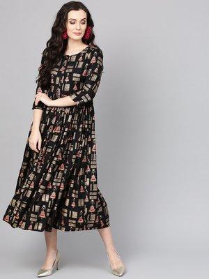 Black Printed Empire Dress