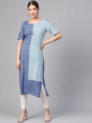 Blue Colourblocked Straight Kurta