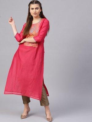 Pink Yoke Design Straight Kurta