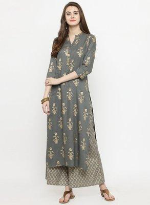 Women Grey & Gold Toned Printed Straight Kurta