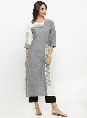 Grey & White Colourblocked Straight Kurta
