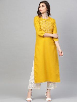 Mustard Yellow Yoke Design Straight Kurta