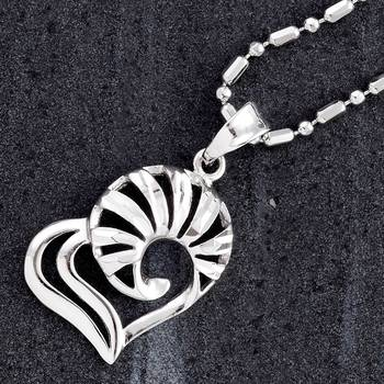 Cut Work Silver Heart Pendant