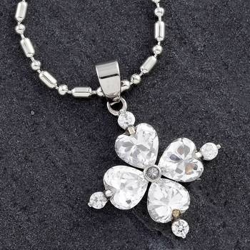 Steel Clover Pendant with CZ
