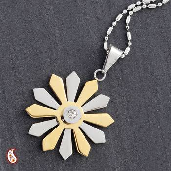 Sunflower Pendant with Gold Polish