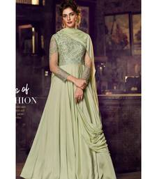 semi stitched satin green Party Wear Gowns