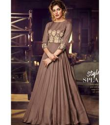 semi stitched satin beige Party Wear Gowns