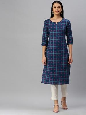 Navy-blue printed cotton cotton-kurtis