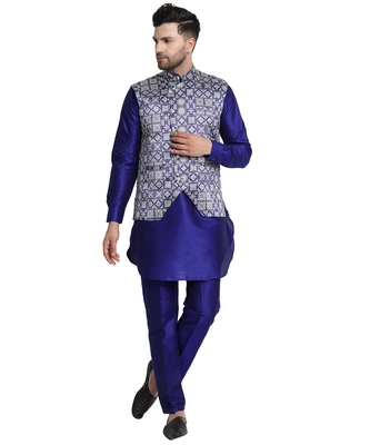 Blue printed art silk kurta-pajama