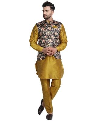 Brown printed art silk kurta-pajama