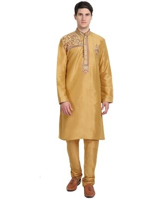 Gold embroidered art silk kurta-pajama