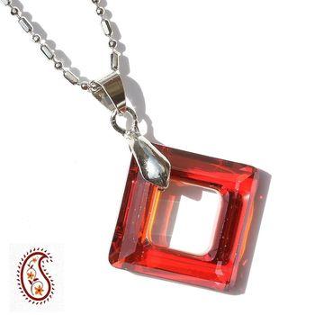 Red Diamond Ring Crystal Pendant