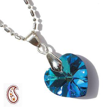Deep Blue Heart Crystal Pendant