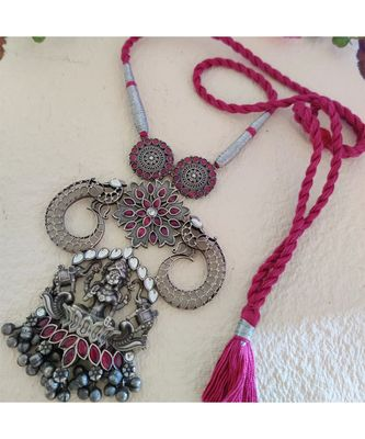 Pink Stone Devi Necklace In Antique Silver