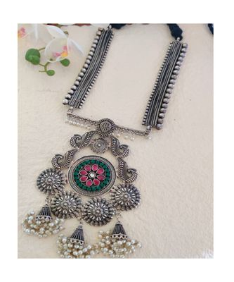 Green And Pink Kundan Stone Necklace