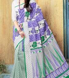 Buy White and Purple and Green printed cotton saree with blouse cotton-saree online