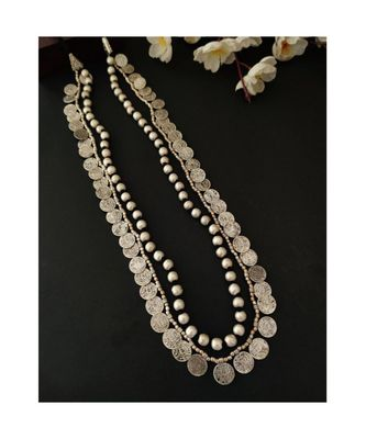 Silver Beaded Coin Necklace